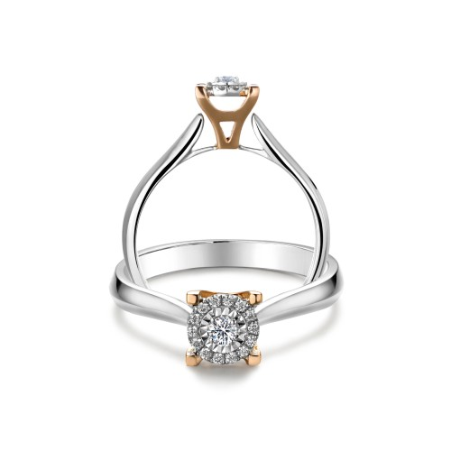 Halo Solitaire Ring with Eiffel Tower Accent