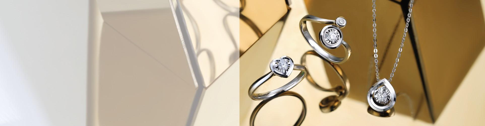 E Store Adelle Jewellery Satu Set Jewelry Tunangan Kawin Pernikahan Berlian Emas Wedding Round Geometric Ring